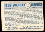 1970 Fleer World Series #66   1969 Mets vs. Orioles Back Thumbnail