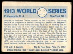1970 Fleer World Series #10   1913 A's vs. Giants Back Thumbnail