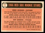 1966 Topps #356   -  Ken Sanders / Owen Johnson Red Sox Rookies Back Thumbnail