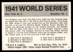 1971 Fleer World Series #39   1941 Yankees / Dodgers -   Back Thumbnail