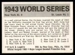 1971 Fleer World Series #41   1943 Yankees / Cardinals -   Back Thumbnail