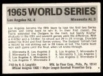 1971 Fleer World Series #63   1965 Dodgers / Twins -   Back Thumbnail