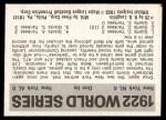 1971 Fleer World Series #20   1922 Giants / Yankees -   Back Thumbnail