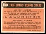 1966 Topps #373   -  Jack Hiatt / Dick Estelle Giants Rookies Back Thumbnail