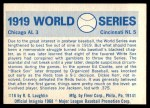 1970 Fleer World Series #16   1919 Reds vs. White Sox  Back Thumbnail