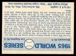 1970 Fleer World Series #62   1965 Dodgers vs. Twins Back Thumbnail