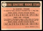 1966 Topps #549   -  Casey Cox / Al Closter Senators Rookies Back Thumbnail