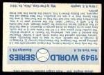 1970 Fleer World Series #46   -  Allie Reynolds  / Preacher Roe 1949 Yankees vs. Dodgers   Back Thumbnail