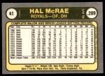1981 Fleer #41 LHT Hal McRae  Back Thumbnail