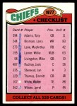 1977 Topps #212   Chiefs Team Checklist Front Thumbnail