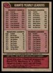 1977 Topps #218   Giants Team Checklist Back Thumbnail