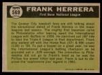 1961 Topps #569   -  Frank Herrera All-Star Back Thumbnail