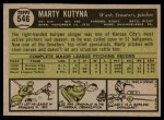 1961 Topps #546  Marty Kutyna  Back Thumbnail