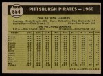 1961 Topps #554   Pirates Team Back Thumbnail