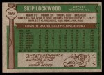 1976 Topps #166  Skip Lockwood  Back Thumbnail