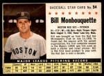 1961 Post #54 BOX Bill Monbouquette   Front Thumbnail