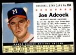 1961 Post #104 BOX Joe Adcock   Front Thumbnail