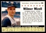 1961 Post #140  Wilmer Mizell   Front Thumbnail