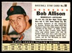 1961 Post #91 BOX Bob Allison  Front Thumbnail