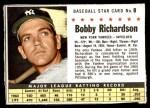1961 Post #8 BOX Bobby Richardson  Front Thumbnail