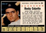 1961 Post #36 BOX Rocky Colavito   Front Thumbnail