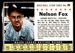 1961 Post #20 BOX Nellie Fox   Front Thumbnail