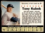 1961 Post #9 BOX Tony Kubek   Front Thumbnail