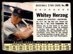 1961 Post #88 BOX Whitey Herzog   Front Thumbnail