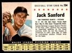 1961 Post #154  Jack Sanford   Front Thumbnail