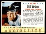 1963 Post #142  Bill Virdon  Front Thumbnail