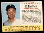1963 Post #147  Roy Face  Front Thumbnail