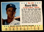 1963 Post #115  Maury Wills  Front Thumbnail