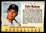 1963 Post #151  Eddie Mathews  Front Thumbnail