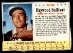 1963 Post #92  Haywood Sullivan  Front Thumbnail