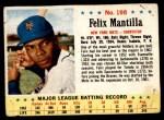 1963 Post #198  Felix Mantilla  Front Thumbnail