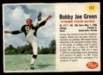 1962 Post #123  Bobby Joe Green  Front Thumbnail