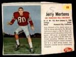 1962 Post #99  Jerry Mertens  Front Thumbnail