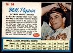 1962 Post #34  Milt Pappas   Front Thumbnail