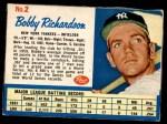 1962 Post #2  Bobby Richardson  Front Thumbnail