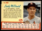 1962 Post #163  Lindy McDaniel   Front Thumbnail