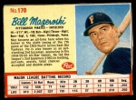 1962 Post #170  Bill Mazeroski  Front Thumbnail