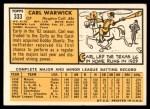 1963 Topps #333  Carl Warwick  Back Thumbnail