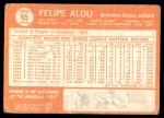 1964 Topps #65  Felipe Alou  Back Thumbnail