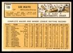 1963 Topps #109  Lee Maye  Back Thumbnail