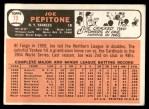 1966 Topps #79  Joe Pepitone  Back Thumbnail