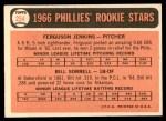 1966 Topps #254   -  Ferguson Jenkins / Bill Sorrell Phillies Rookies Back Thumbnail