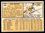 1963 Topps #494  Phil Regan  Back Thumbnail