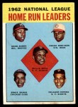 1963 Topps #3   -  Hank Aaron / Willie Mays / Frank Robinson / Ernie Banks / Orlando Cepeda NL HR Leaders Front Thumbnail