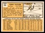 1963 Topps #366  Tony Taylor  Back Thumbnail