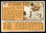 1963 Topps #254  Mike Hershberger  Back Thumbnail